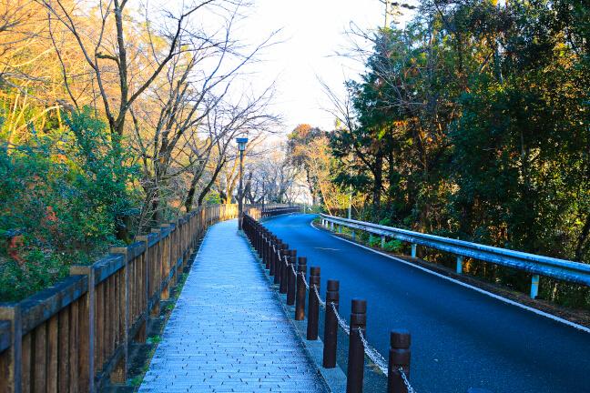犬山城の内田門跡の辺りの道路。左手は郷瀬川