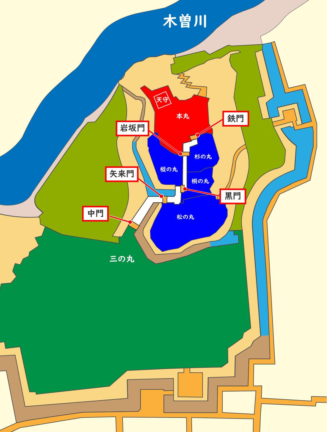 犬山城大手道の5つの門の配置図
