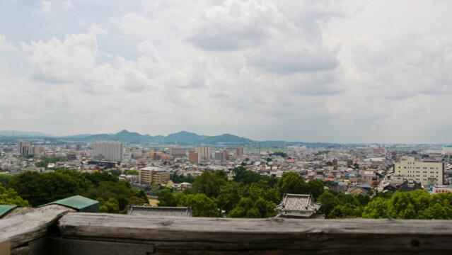 犬山城からの景色。南には濃尾平野が広がる