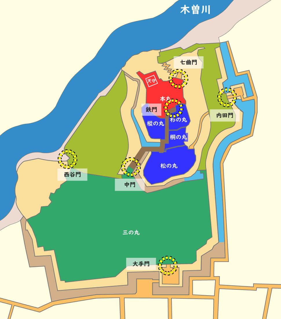 犬山城縄張り図-大手と搦手の門