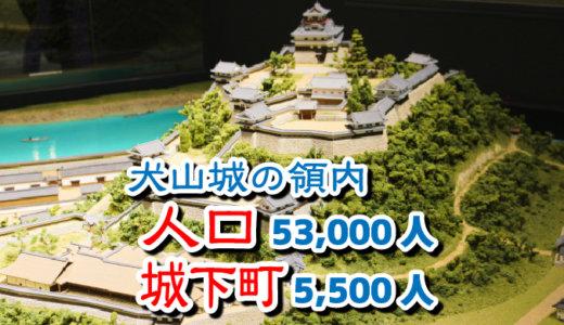犬山城の領内の人口53,000人、城下町の人口5,500人