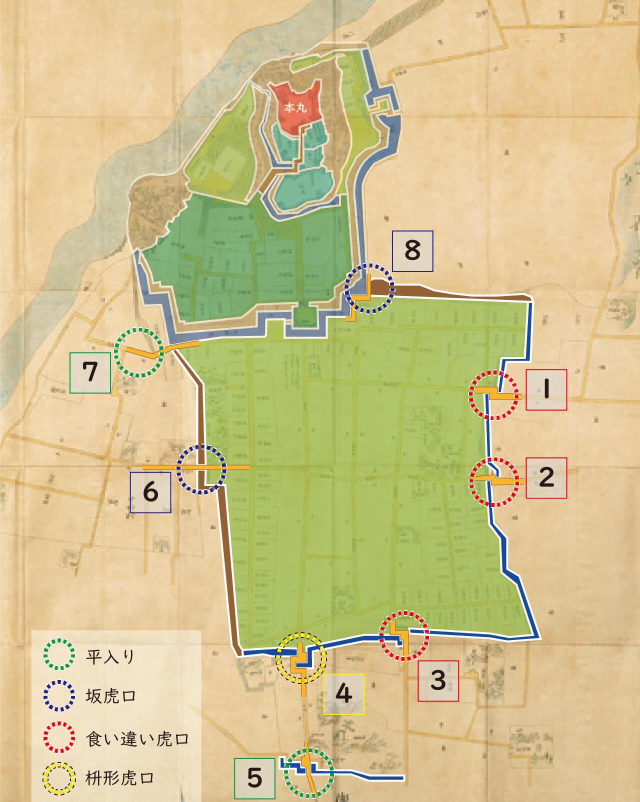 江戸時代の犬山城と犬山城下町の図。丸で囲ったところが城下町の出入口