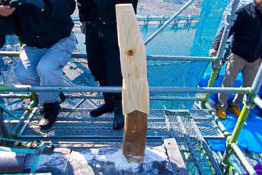 芯木を追加で加工した後の様子。しゃちほこの中はこうなっていた。
