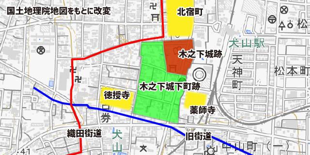 地図:木之下城跡の推定地