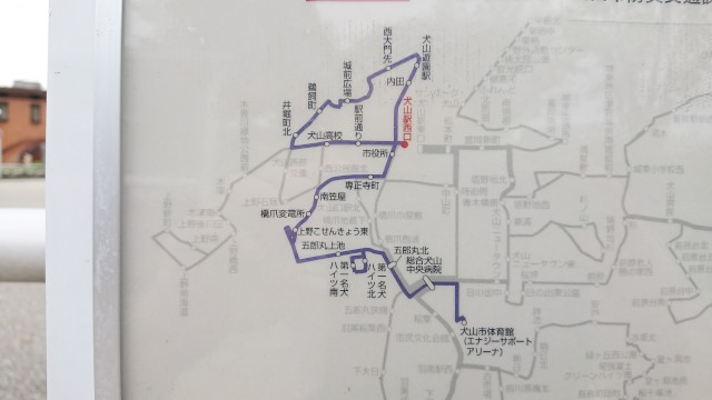 犬山駅西口-コミュニティバス乗り場ー路線図