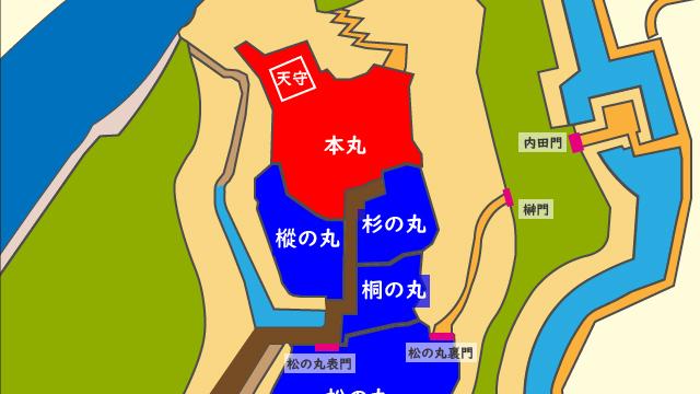 松の丸表門と裏門の配置図