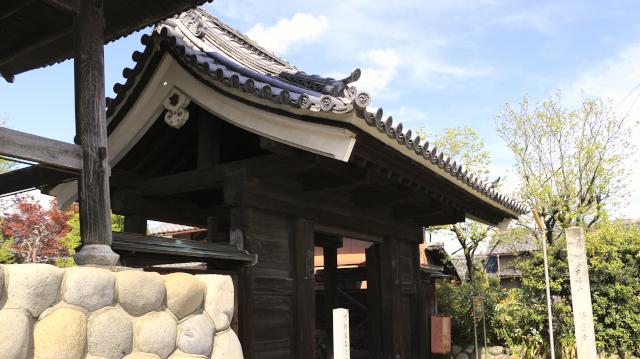 浄蓮寺山門。犬山城松の丸の表門。軒の破風板が漆喰塗になっている