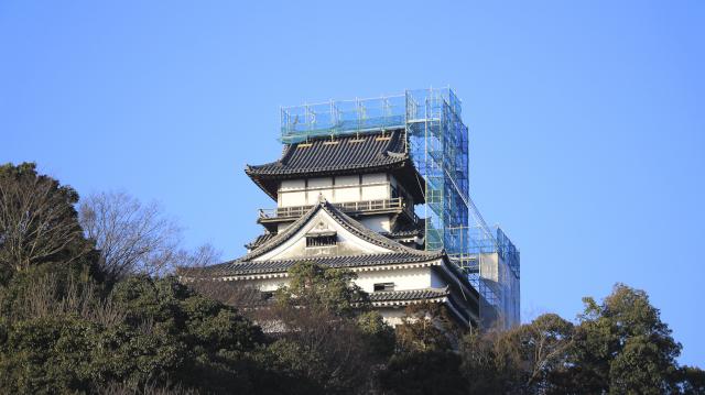 犬山城と足場