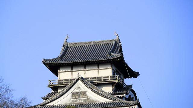 新しいしゃちほこが設置された直後の犬山城天守