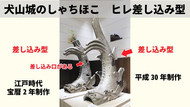 犬山城のしゃちほこはヒレが差し込み型の図解