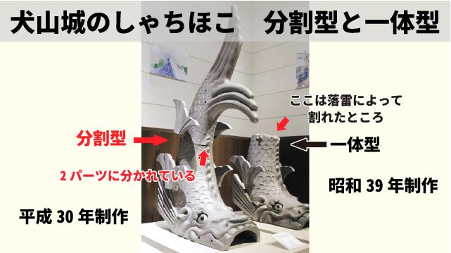 犬山城しゃちほこ 分割型と一体型の図