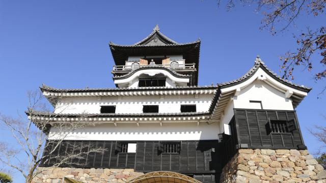 犬山城天守を見上げる画