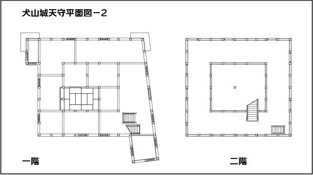 犬山城天守平面図。一階。二階