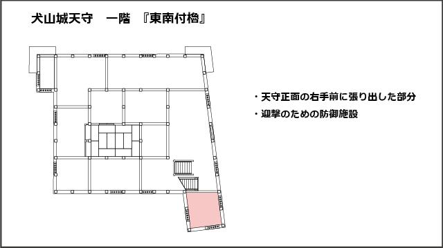 犬山城天守一階平面図、東南付櫓