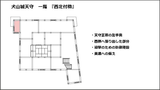 犬山城天守一階平面図、西北付櫓