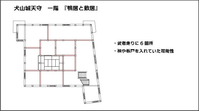 犬山城天守一階平面図、鴨居と敷居